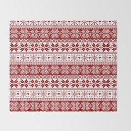 Red Winter Fair Isle Pattern Throw Blanket