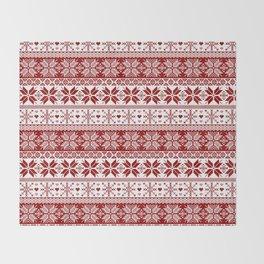 Red Winter Fair Isle Pattern Throw Blanket