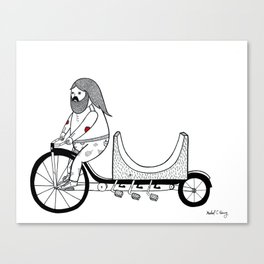 Concerning the very unusual ramp re-locating four pedaled bicycle. Canvas Print