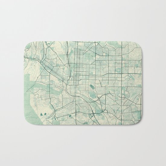 Colorado Springs Map Blue Vintage Bath Mat