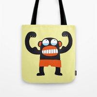 muscle Tote Bags featuring Muscle Monkey by Zubinski Products