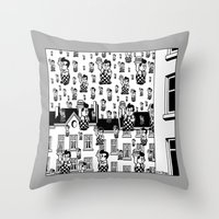 magritte Throw Pillows featuring MAGRITTE IN MICHIGAN by ART D' SIERGEY