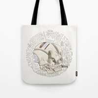 philosophy Tote Bags featuring Philosophy Skuhl by clogtwo
