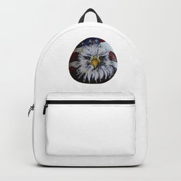 American Bald Eagle and American Flag on a rock by annmariescreations Backpack