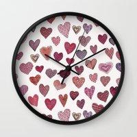 artsy Wall Clocks featuring Artsy Hearts by Shifra Whiteman