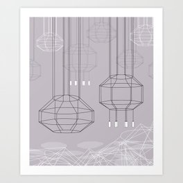 Geo Chandeliers - Pink Gray Art Print