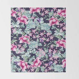 Floral Pattern 1 Throw Blanket