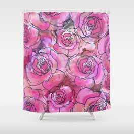 Pink Watercolor Roses Shower Curtain