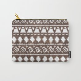 Vintage rustic brown leather white tribal pattern Carry-All Pouch