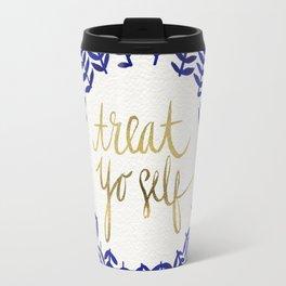 Treat Yo Self – Gold & Navy Travel Mug