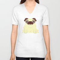 pug V-neck T-shirts featuring Pug by Hoborobo