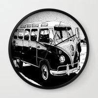 volkswagen Wall Clocks featuring Volkswagen Bus by Michael Blaze