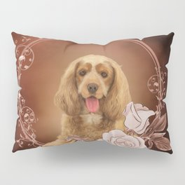 Cute cocker spaniel with roses Pillow Sham