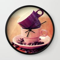cafe Wall Clocks featuring LE CAFE by Claudia Drossert