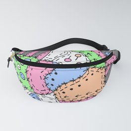 Doodle Art Buttons and Pins - Gray Green Pink Fanny Pack