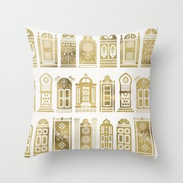 Moroccan Doors – Gold Palette Throw Pillow