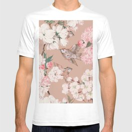 Vintage Japanese Garden, Sakura Cherry Blossom Flowers and Sparrow Birds Pattern in Tan and Blush  T-shirt