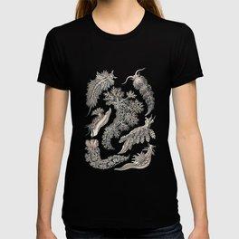 Ernst Haeckel Nudibranch Sea Slugs Monochrome Silver T-shirt