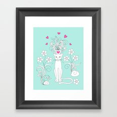 elegance cat with flowers and hearts Framed Art Print