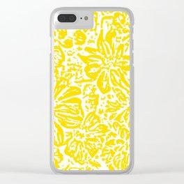 Marigold Lino Cut, Mustard Yellow Clear iPhone Case