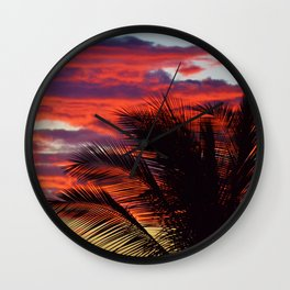 pomegranate sunset Wall Clock