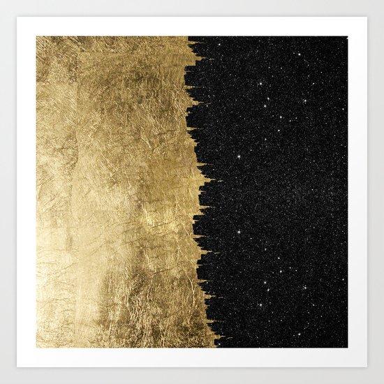 Faux Gold & Black Starry Night Brushstrokes Art Print