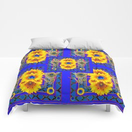 BLUE PEACOCK  SUNFLOWERS DECO JEWELED ABSTRACT Comforters