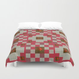 project for a quilt red and beige with floral patterns Duvet Cover