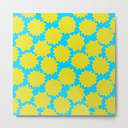 Pop Art Starburst // Yellow & Turquoise Metal Print