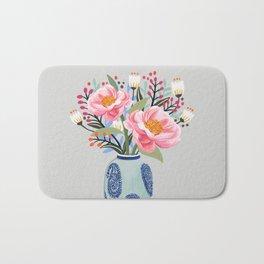 Vase illustration, flower, floral, blossom print Bath Mat