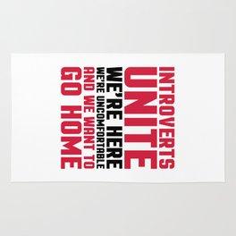 Introverts Unite Funny Quote Rug
