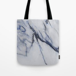 White Marble with Black and Blue Veins Tote Bag