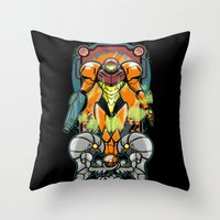 samus Throw Pillows featuring Samus by Brandon C. Bader