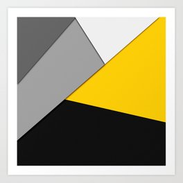 Simple Modern Gray Yellow and Black Geometric Art Print