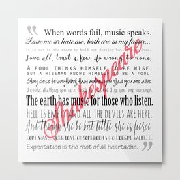 Shakespeare Quotes Metal Print