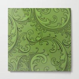 Greenery Swirls Metal Print