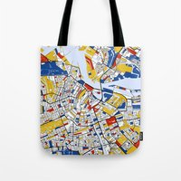amsterdam Tote Bags featuring Amsterdam by Mondrian Maps