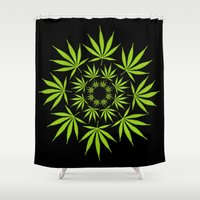 cannabis Shower Curtains featuring Cannabis Leaf Circle (Black) by The Image Zone