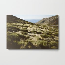 Mountains, green, beige, road, nature, sky, blue Metal Print