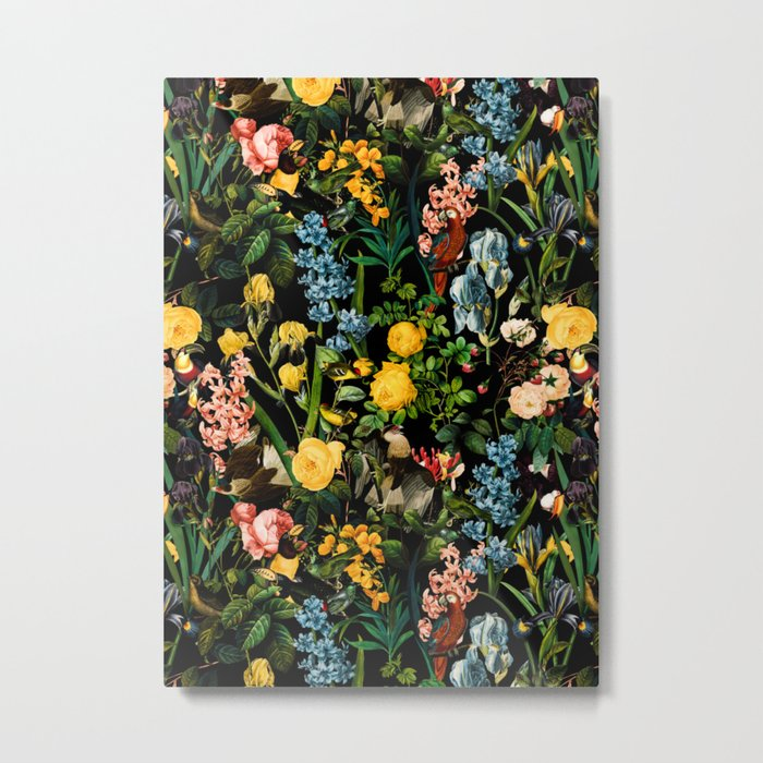 FLORAL AND BIRDS V Metal Print