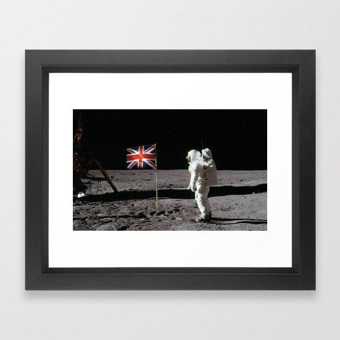 British Flag on the Moon Framed Art Print