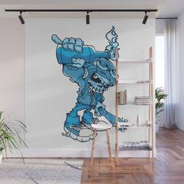 Anarchy Skeleton -  Iris Blue bottle fire skull Wall Mural