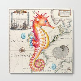 Red Seahorse Sea Metal Print