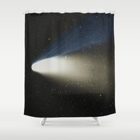 derek hale Shower Curtains featuring Comet Hale-Bopp by Space99