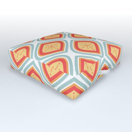 Mid Century Modern Mandala Retro Muted Turquoise Orange Outdoor Floor Cushion