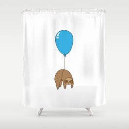 Sloth hanging from balloon Shower Curtain