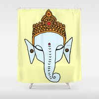 ganesha Shower Curtains featuring Ganesha by RaJess
