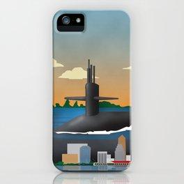 Kings Bay, GA - Retro Submarine Travel Poster iPhone Case
