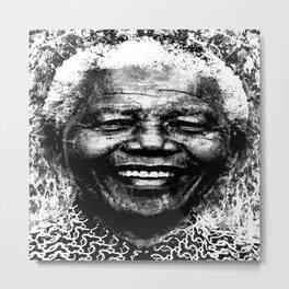 NELSON MANDELA (BLACK & WHITE VERSION) Metal Print