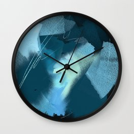 Midnight Blossom: an abstract, mixed media piece in dark and light blue / greens by Alyssa Hamilton Wall Clock